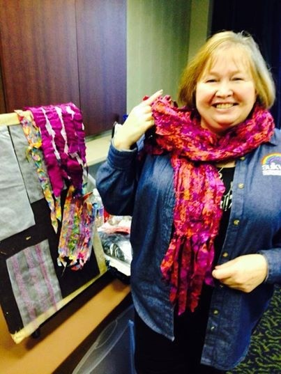 Sulky's amazing Director of Education Ellen Osten modeling the Morticia Scarf