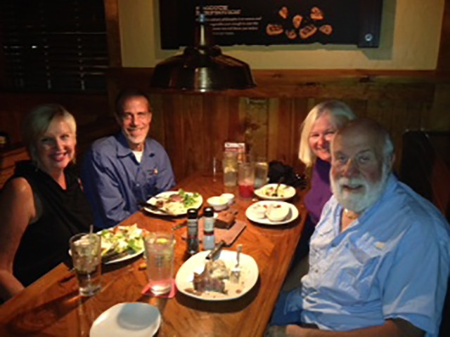 The Drexlers having dinner with Eric Drexler and Diane Gloystein while on their Trike trip in 2014.