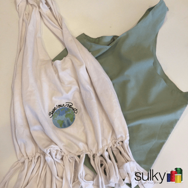 Upcycled reusable shopping bags sulky for Reusable t shirt bags