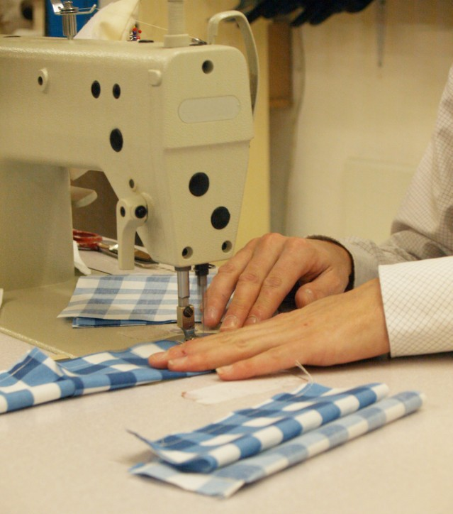 sewing at machine
