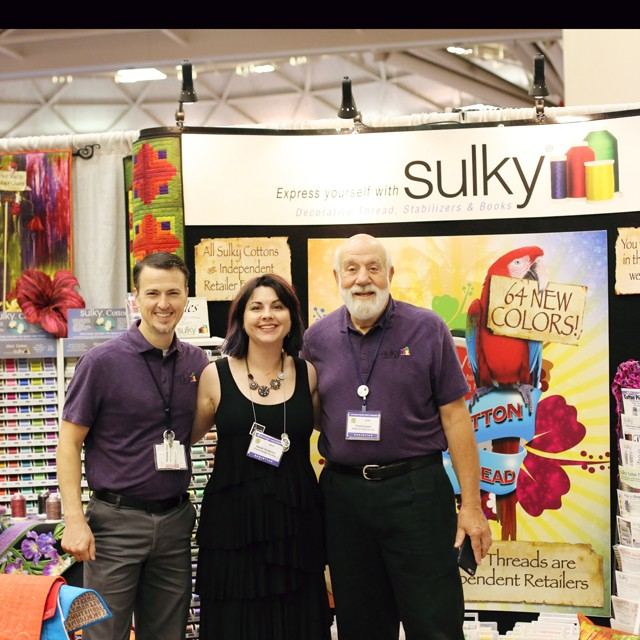 Sulky President Jason Prater, Frond Project Manager Sarah Gustason and Sulky Founder and Owner Fred Drexler at Spring Quilt Market