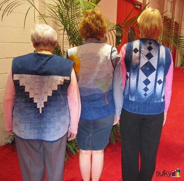 Here are the 3 backs of the 2011 vests. This year, they used Cherrywood Fabrics