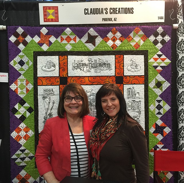 Claudia and I in front of Claudia's Creations Halloween embroidery design