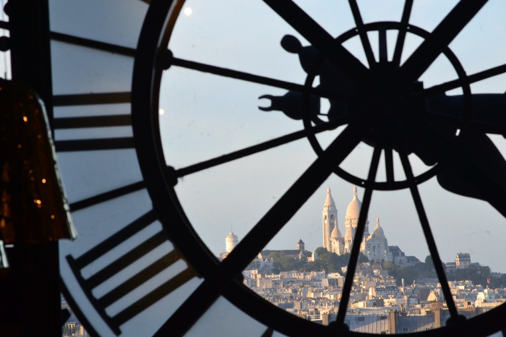 The view from inside the Musee D'Orsay. You can see Sacre Coeur through the large clock.