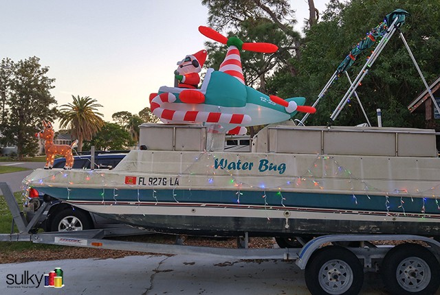 Sulky National Educator Eric Drexler lives in South Florida. What do you do when it's never cold at Christmas? You decorate your boat of course!