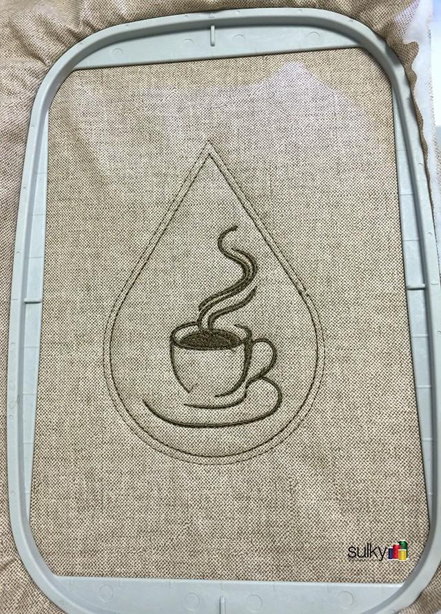 coffee coaster in hoop 2