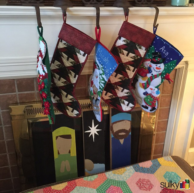 Stockings by Vicki Nielson, President of the Etowah Valley Quilt Guild and Sulky fan!