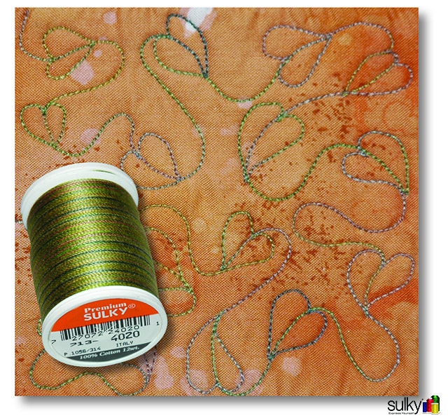 Quilted with Sulky 12 wt. Cotton Blendables thread