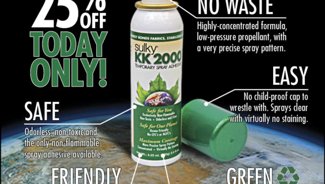 Sulky KK 2000 – The Only Earth Friendly Temporary Spray Adhesive