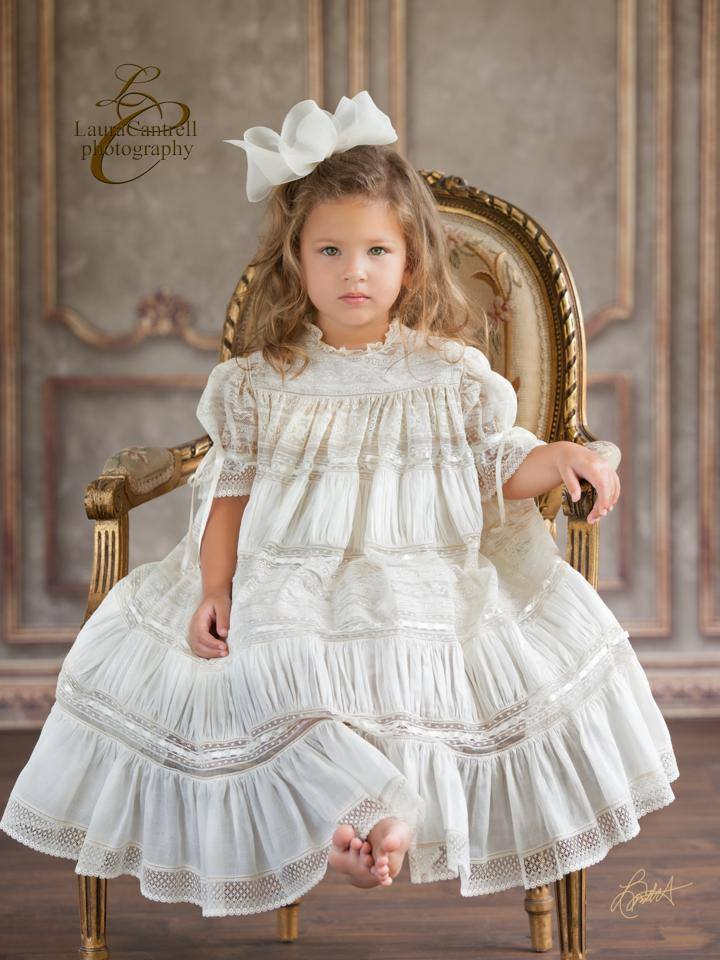 little girl in heirloom dress