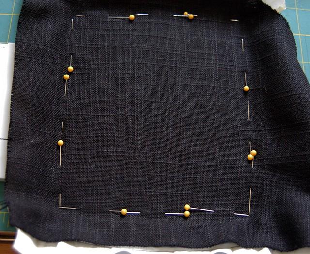 black linen pinned