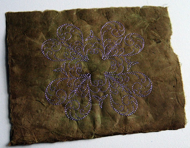 embroidered paper