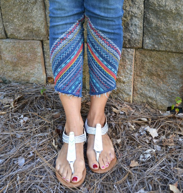 fashion flip jean embroidery