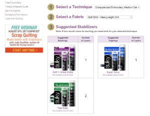 sulky stabilizer selection tool