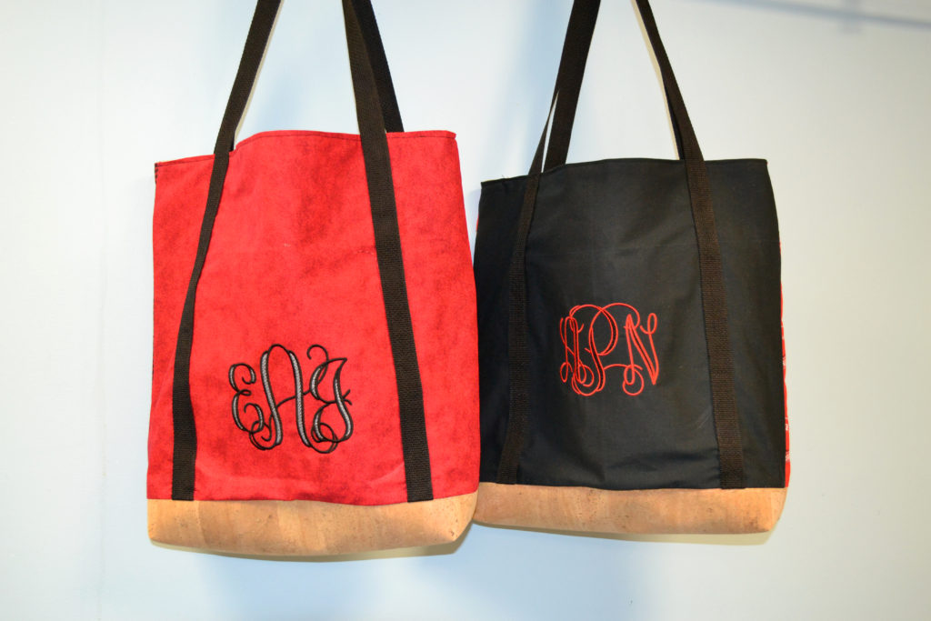 DIY Game-Day Monogrammed, Cork-Bottom Bag