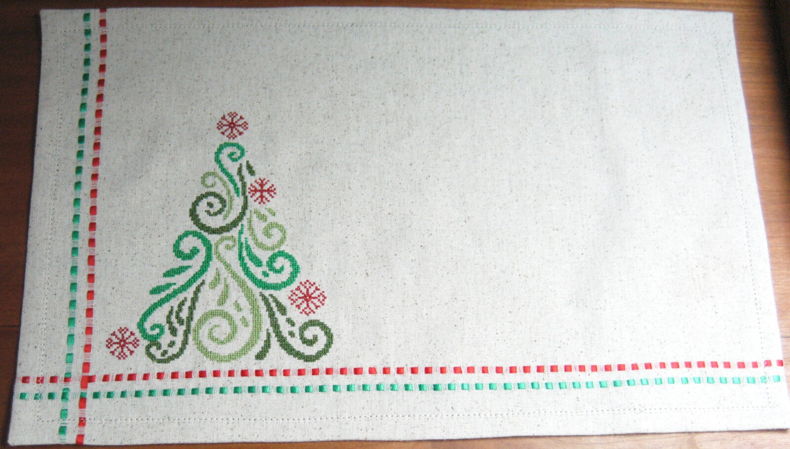 Machine Cross Stitch Christmas Place Mats Express Yourself With Sulky
