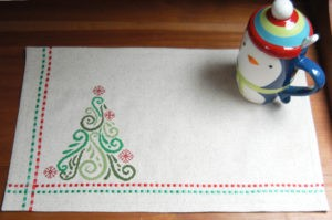 machine cross stitch christmas place mats