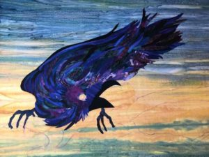 """Raven Eating The Sun"" Art Quilt"