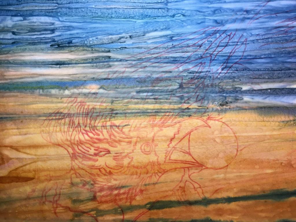 """""""Raven Eating The Sun"""" Art Quilt"""