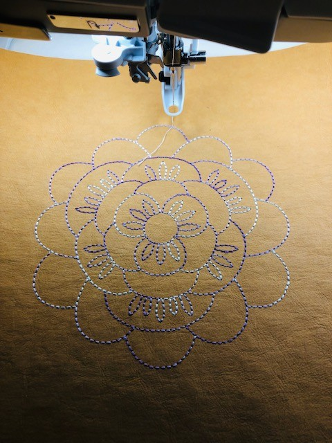 embroidery on kraft-tex
