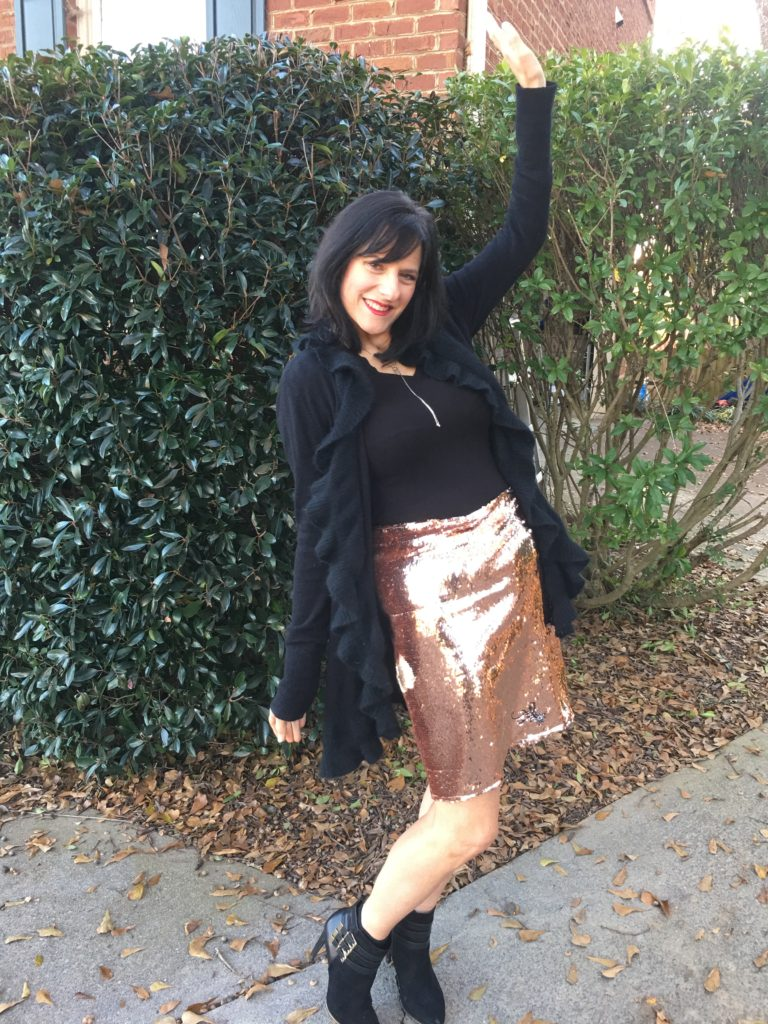 machine embroidery on sequin fabric and sequin skirt tutorial