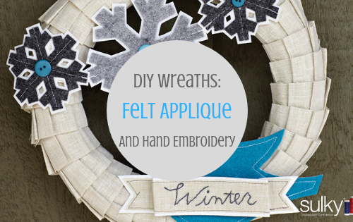 diy wreath with felt applique and hand embroidery