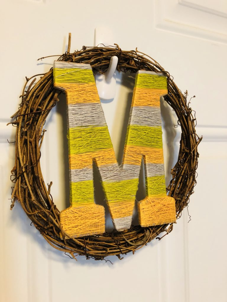 Wreath with Thread Wrapped Letter