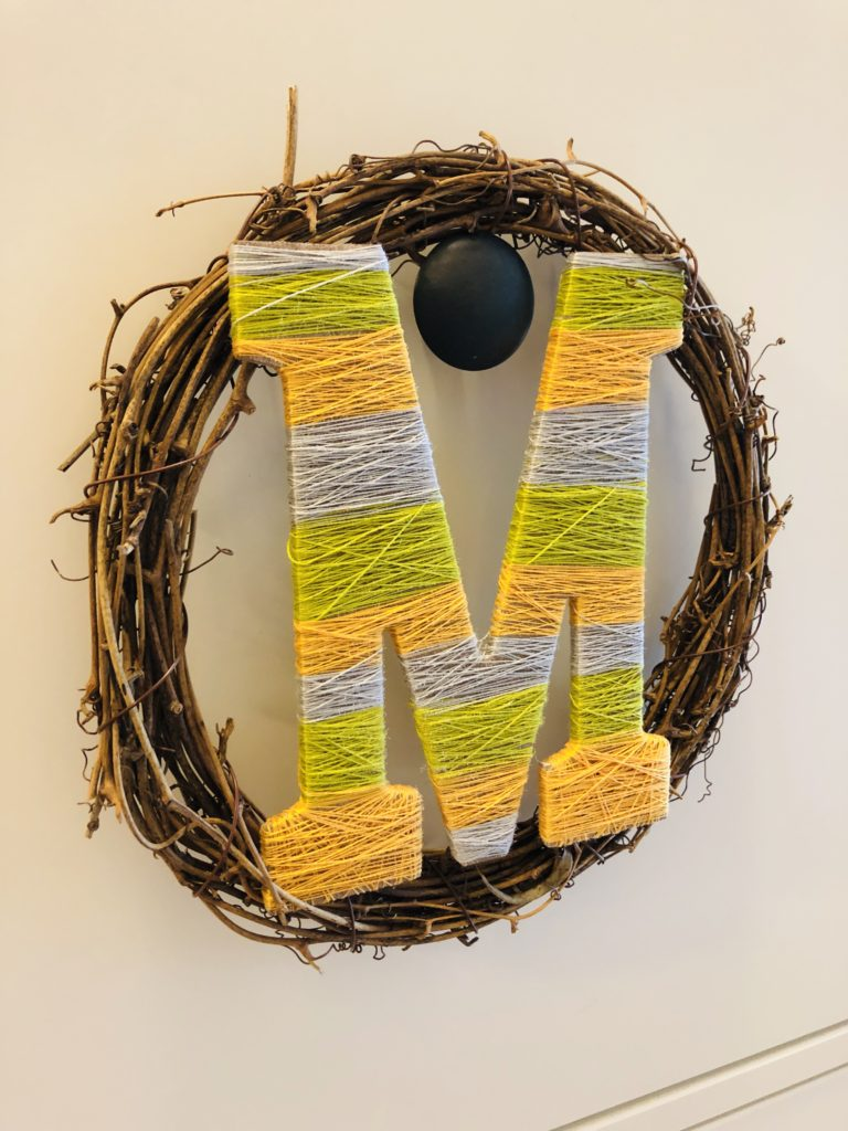 Wreath with Letter Wrapped in Thread