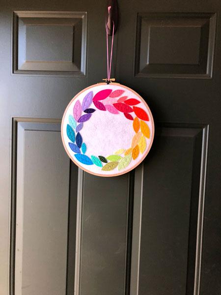 finished rainbow felt wreath