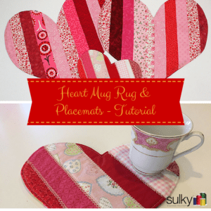 machine embroidered valentines mug rug and placemats