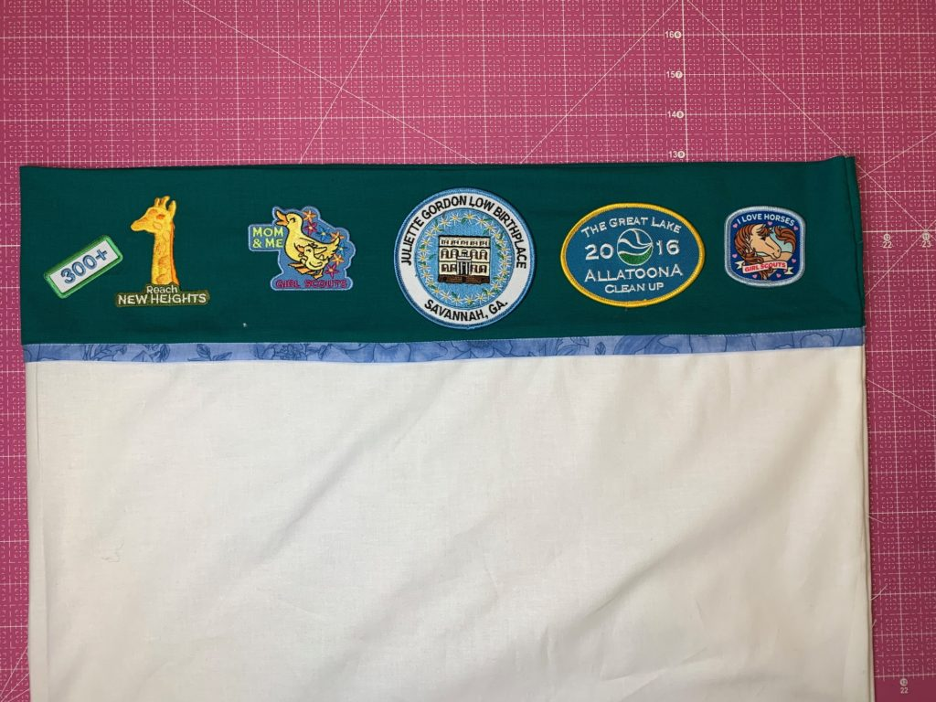 girl scout pillowcase with patches