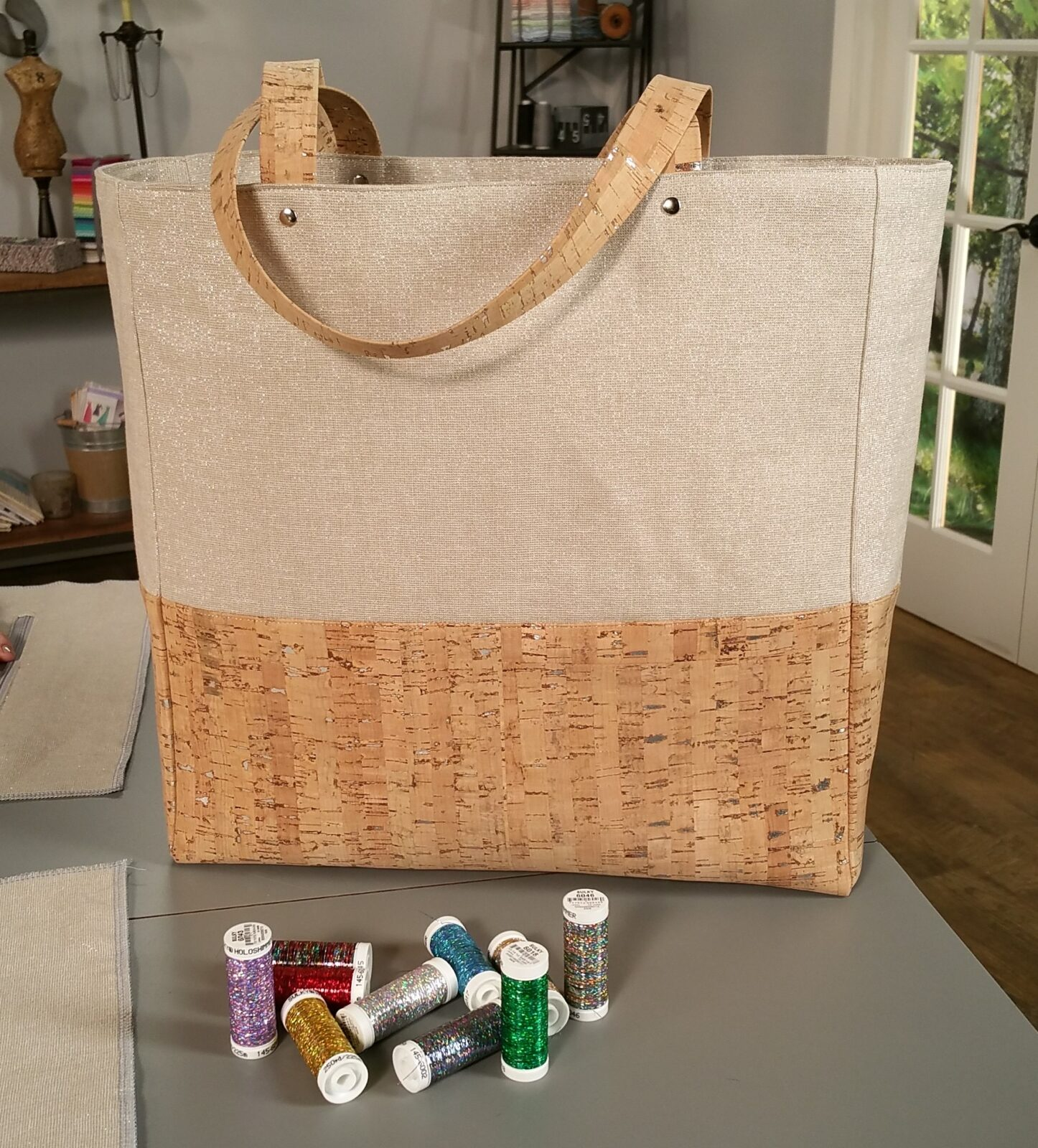 bag Cork and fabric Tote and wallet tote wallet purse