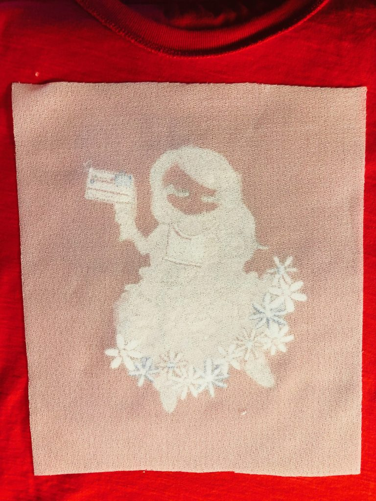July 4 machine embroidery wrong side with Tender Touch