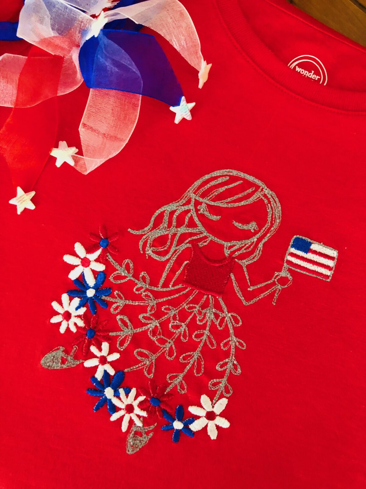 July 4 machine embroidery girl on T-shirt