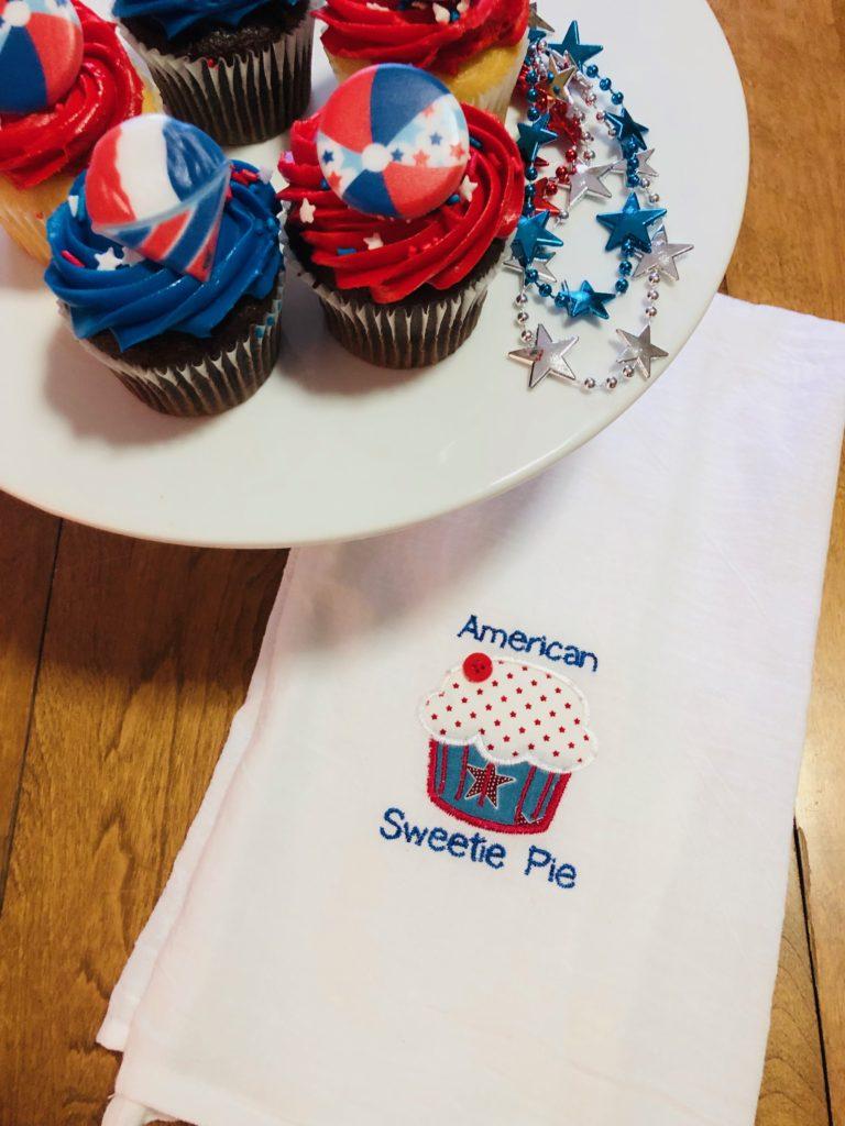 July 4 machine embroidery tea towel