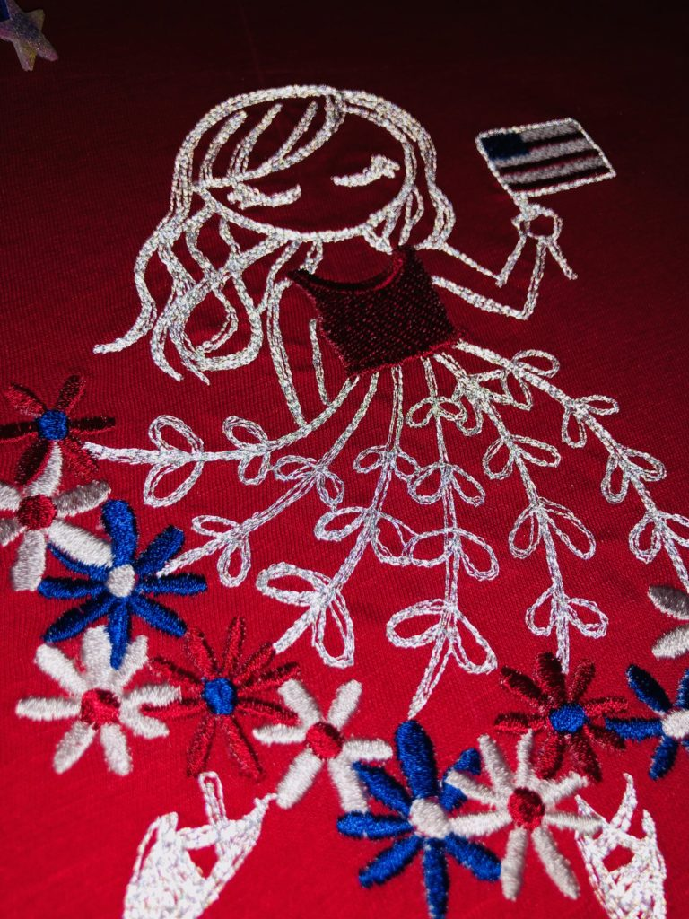 July 4 reflective machine embroidery