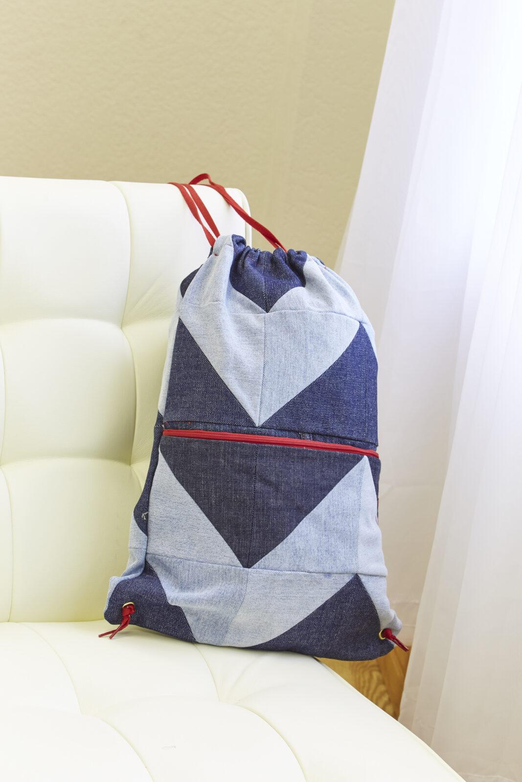 upcycled denim drawstring bag