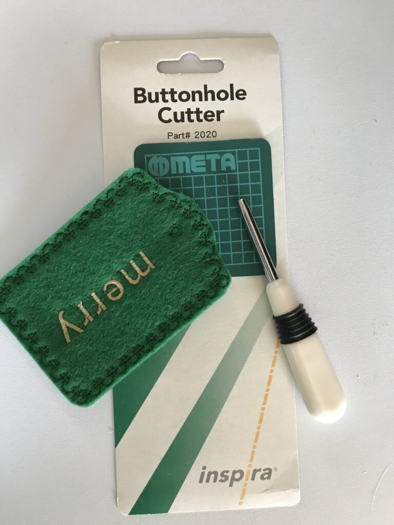 eyelet tool on christmas pillow