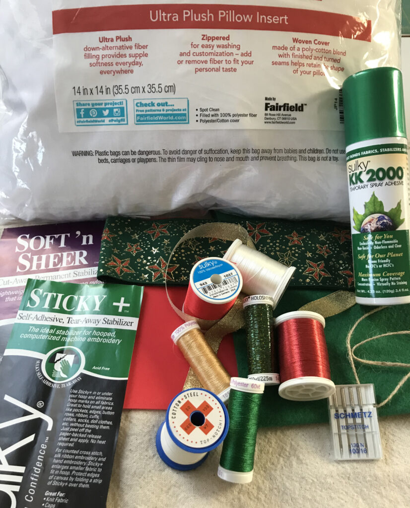supplies for embroidered christmas pillow
