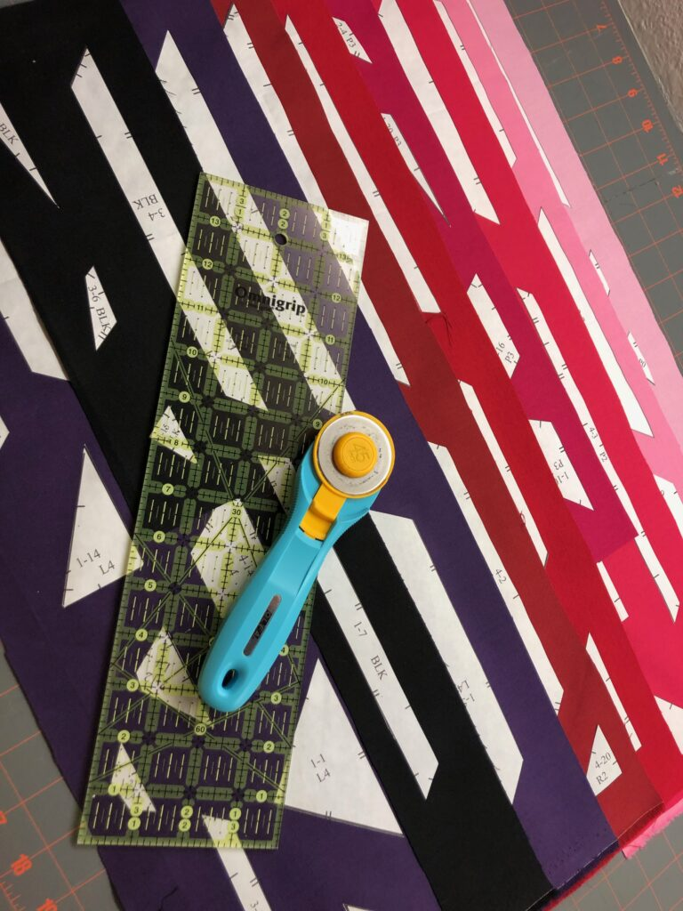July Birthstone Block pieces on fabric