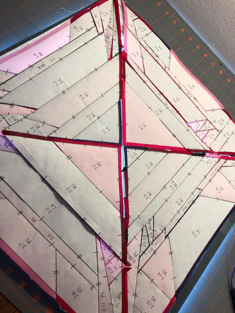 July Birthstone Block quadrants ready for sewing