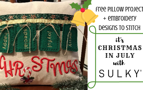 embroidered Christmas pillow