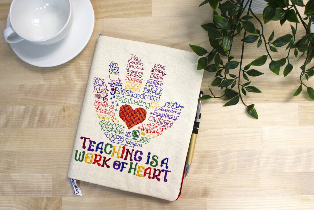 machine embroidered teacher journal