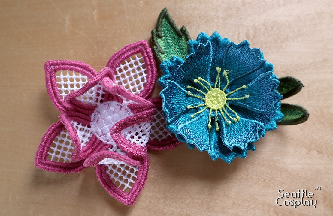 flowers for fascinator stitched