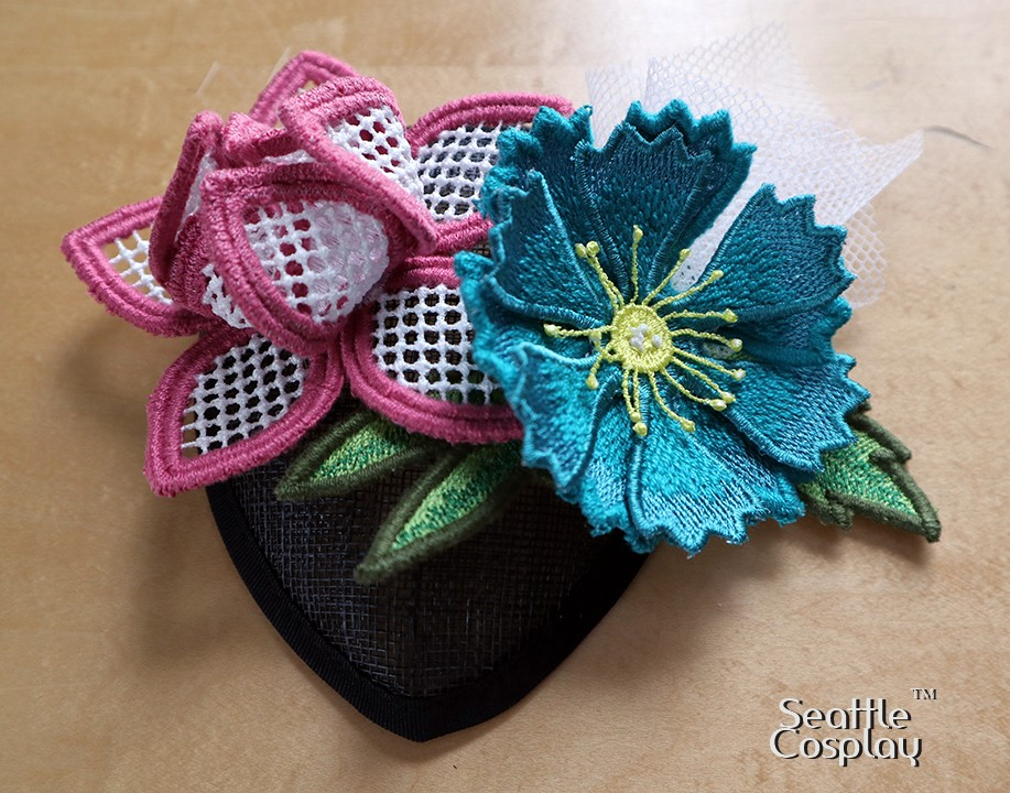 Flower Fascinator with Freestanding Filaine designs