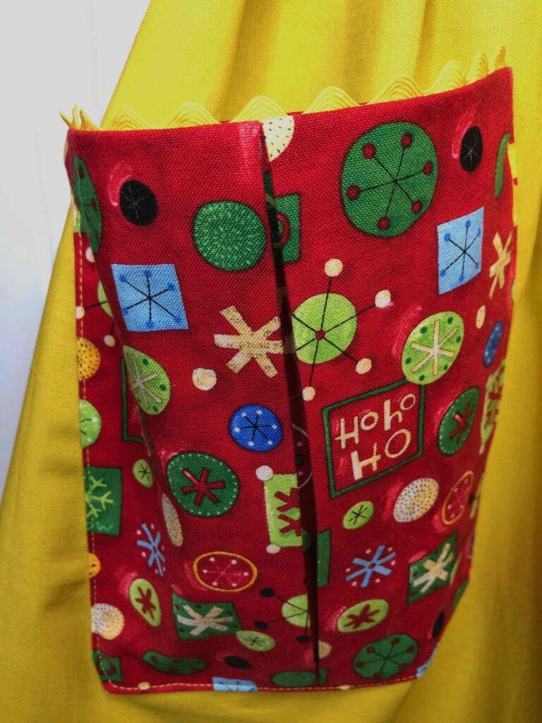 holiday apron pocket detail