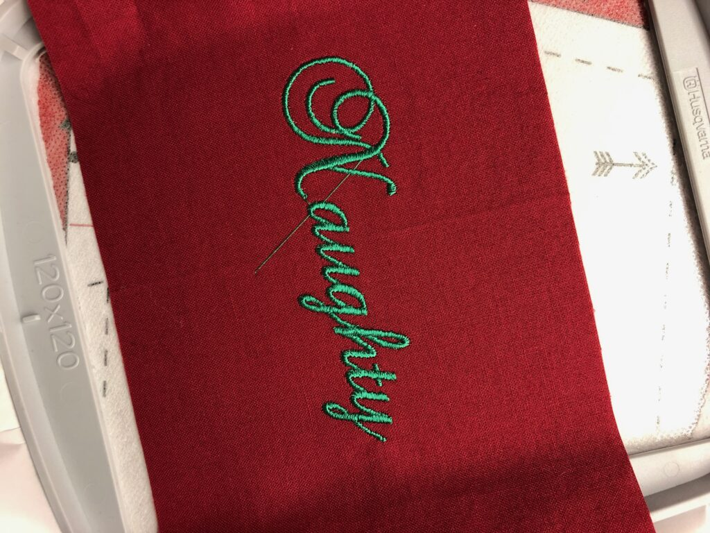 Finished embroidery for holiday apron