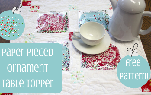 paper pieced ornament table topper