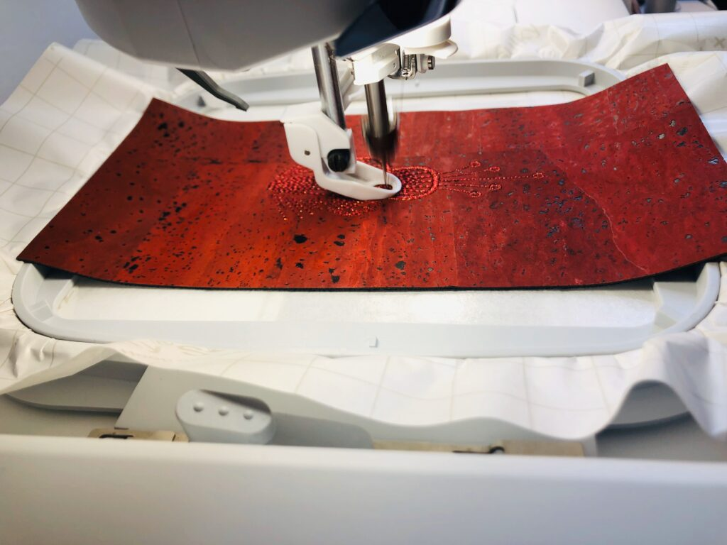 embroidering cork fabric