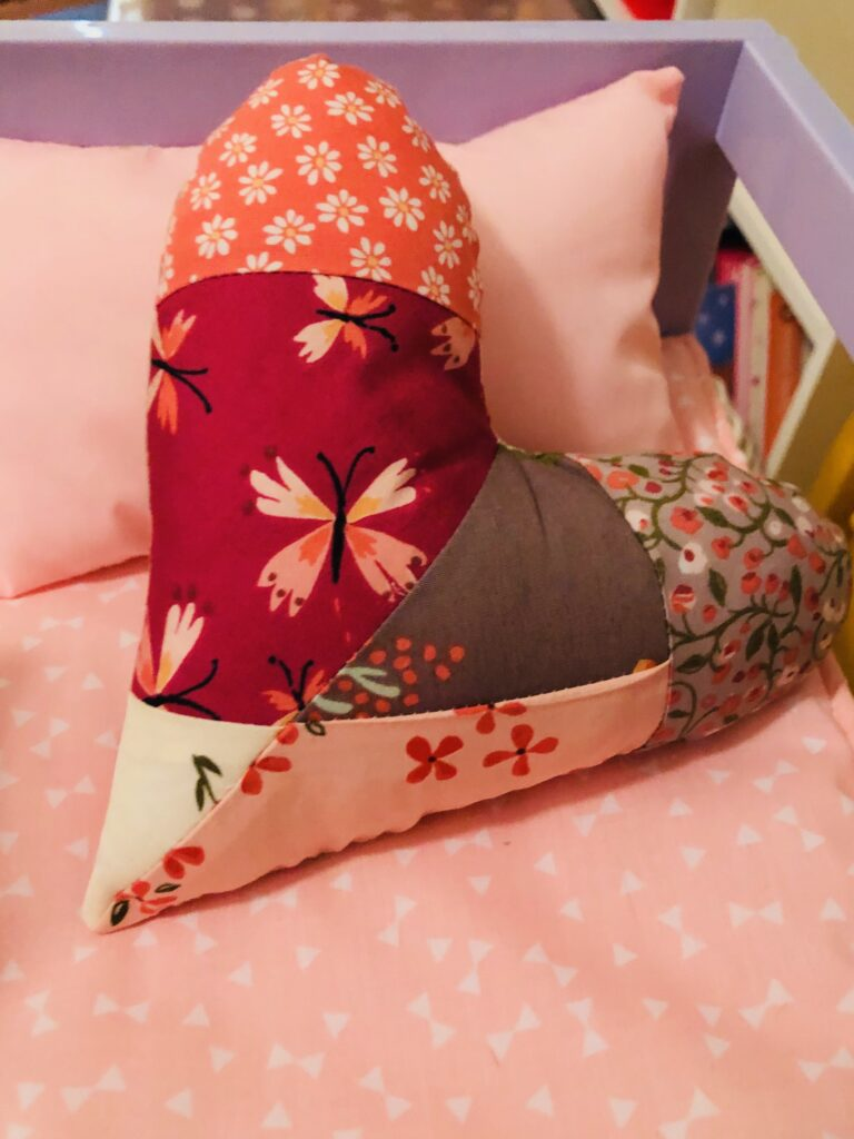 valentine gift heart pillow for doll bed